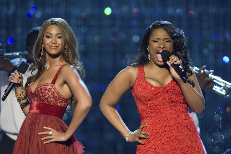Beyoncé Knowles and Jennifer Hudson perform as Dreamgirls at the 79th Academy Awards ceremony in front of the Swarovski crystal curtain