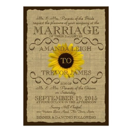 Country Rustic Sunflower and Burlap Wedding Cards