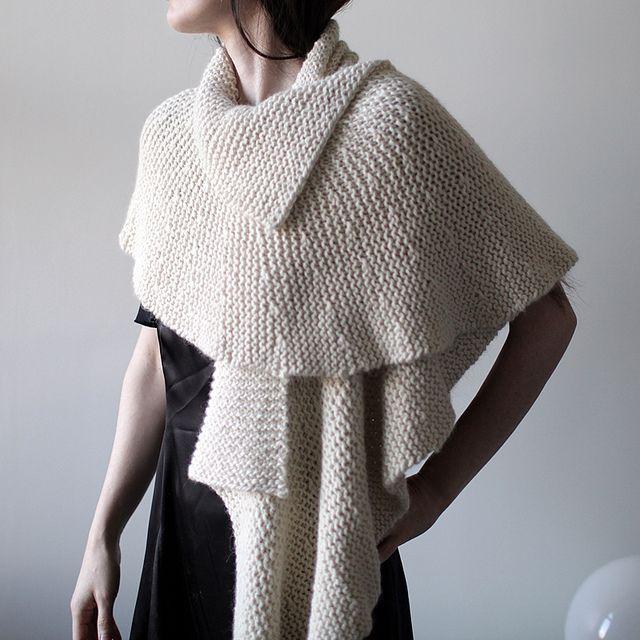 Yarn   6 (100gm skein)XMisti Alpaca Chunky Solids   Colour: White  Pattern   #13 Ruffled Edge Wrap by Lisa Daehlin  Handknit by CityPurl  Such an elegant piece …