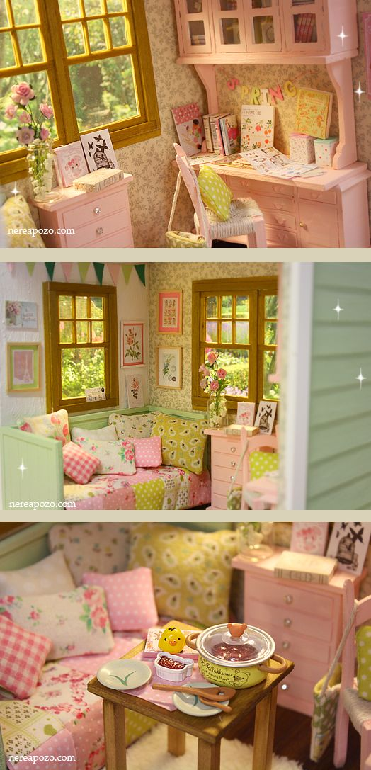 Nerea Pozo Art: ♥ Custom Handmade Diorama SPRING GREEN COTTAGE ♥