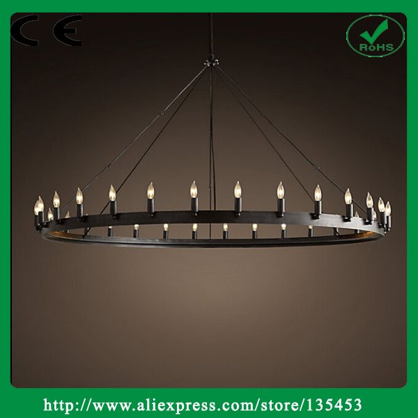 Cheap Contemporary Modern American Vintage Antique Style Black Wrought Iron  Round Chandelier For Bedroom