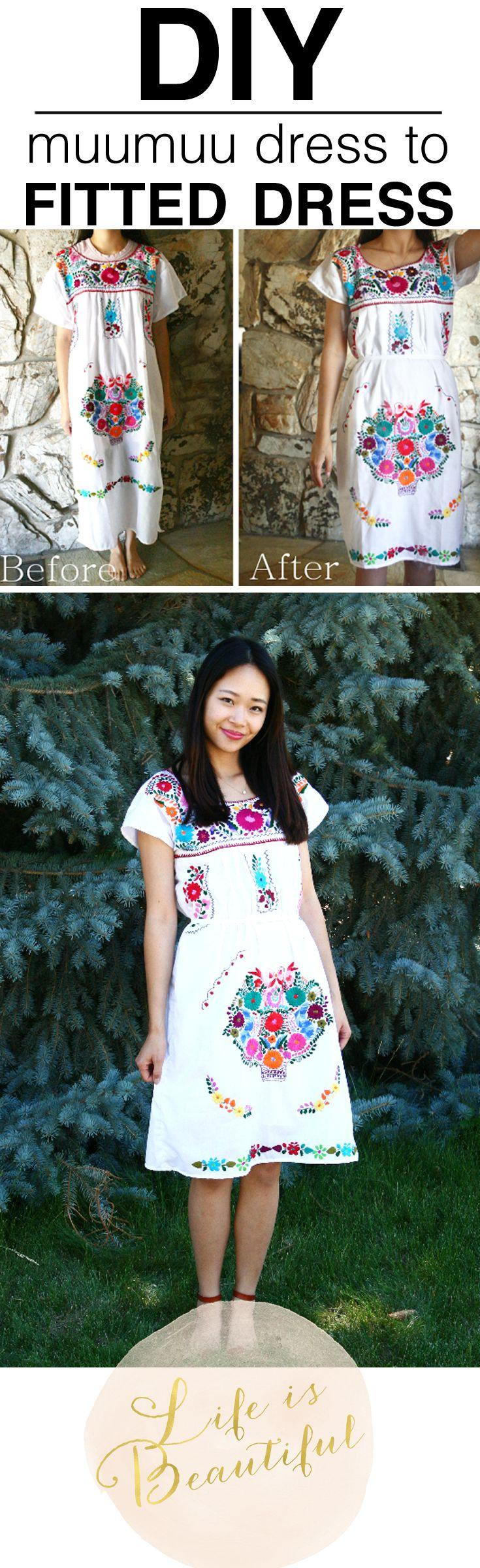 DIY Refashion: Muumuu Dress to Fitted Dress