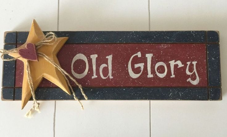 Old Glory Handpainted Wood Wall Plaque Sign Patriotic Flag 4th of July Americana
