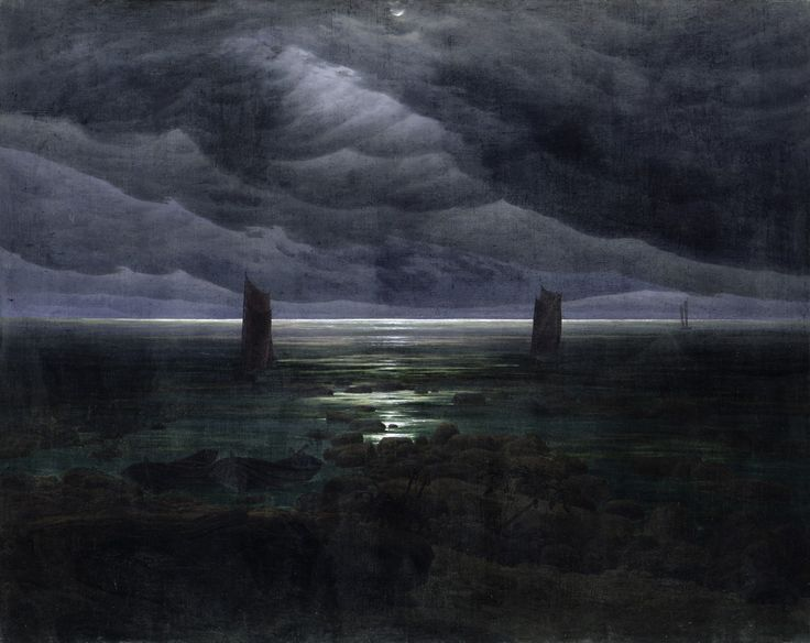"Caspar David Friedrich Seashore by Moonlight (1835–36). 134 × 169 cm. Kunsthalle, Hamburg. Wikipedia - His final ""black painting"", Seashore by Moonlight, is described by William Vaughan as the ""darkest of all his shorelines.""[43]"