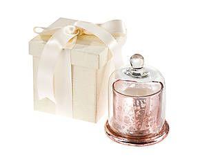 Campana di vetro con candela profumata rosa - h 10 cm