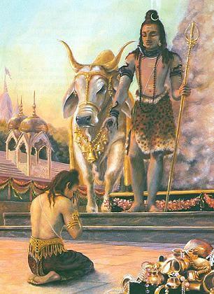Rishi praying to Lord Shiva.