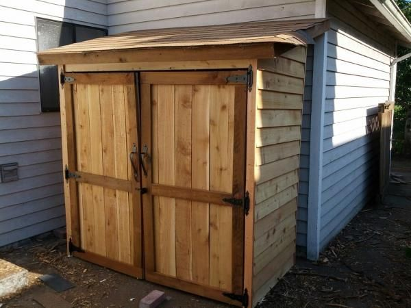 "Garden Shed | Do It Yourself Home Projects from Ana White :""I have been dreaming about building so many things featured on this website, and I finally buckled down and built something. I figured that an outside garden shed would be a bit more forgiving than a project requiring a bit more precision, and from the picture, you can see that it's not perfect! I'm still working on trimming the shingles and I still have to stain/seal it. """