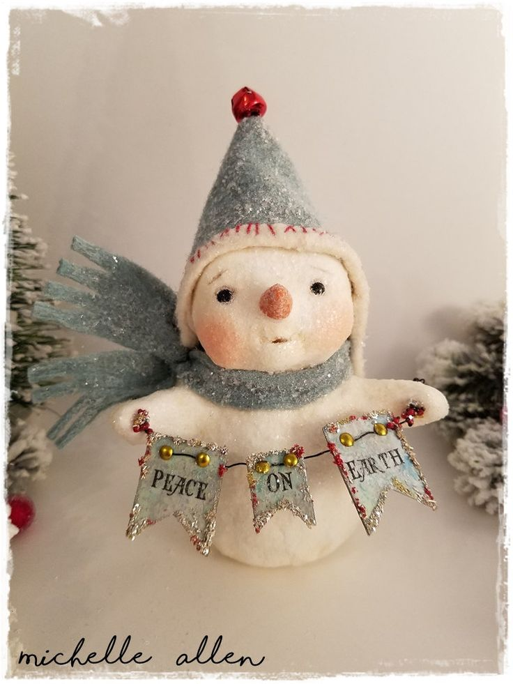 Folk Art paper clay PEACE ON EARTH Christmas Snowman girl doll with blue wool hat handmade by Michelle Allen / Raggedy Pants Designs by RaggedyPantsDesigns on Etsy
