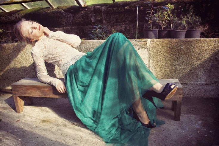 Falda de tul verde.