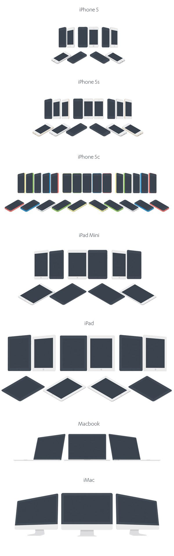 Apple Devices Mockup 7 apple devices, flat mockup, psd mockup, imac mockup, ipad mockup, iphone5c mockup, macbook mockup