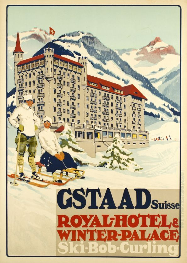 Gstaad Suisse - Royal Hôtel & Winter Palace - Ski-Bob-Curling (by Pellegrini Carlo / 1913) The Palace Grand Opening was in winter 1913-1914. Gstaad ressort Royal-Hotel was offering winter sports lessons, excursions by sledge and bob, toboggan rides and skis. Not signed, but attributed to Carlo Pellegrini.