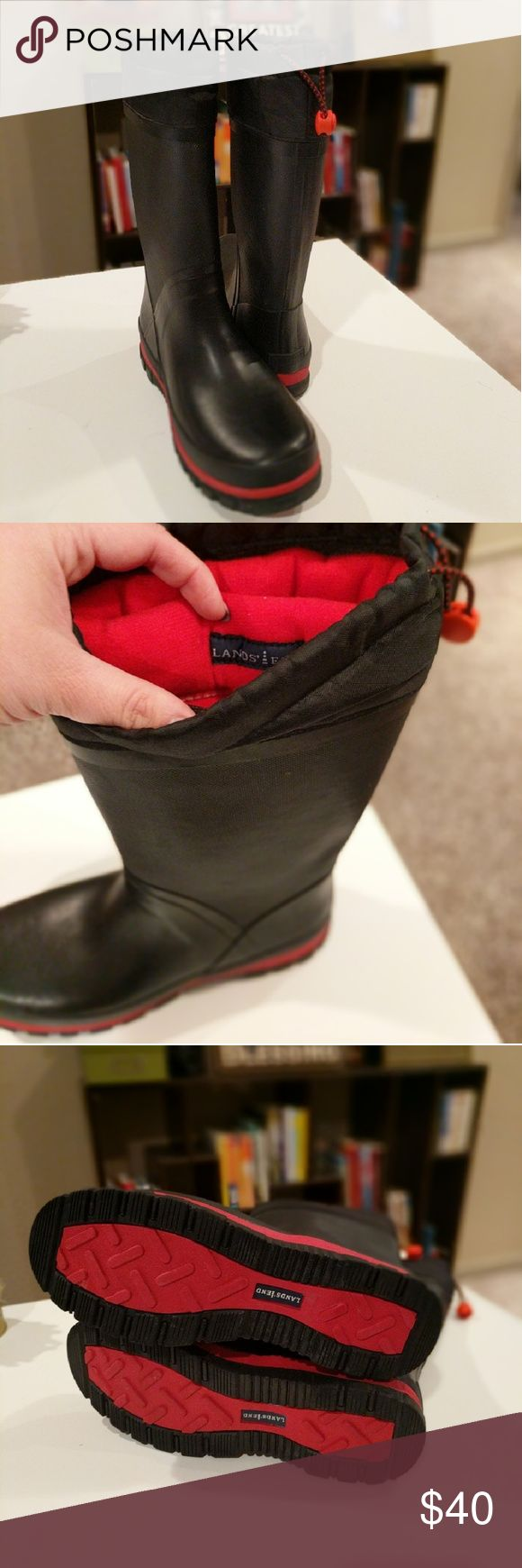 Land's End Insulated Rubber Boots Wonderful condition. Black Land's End insulated rubber boots with red accents. A bit of wear on toe where the red shows (last photo shows). Size 10. Lands' End Shoes Winter & Rain Boots