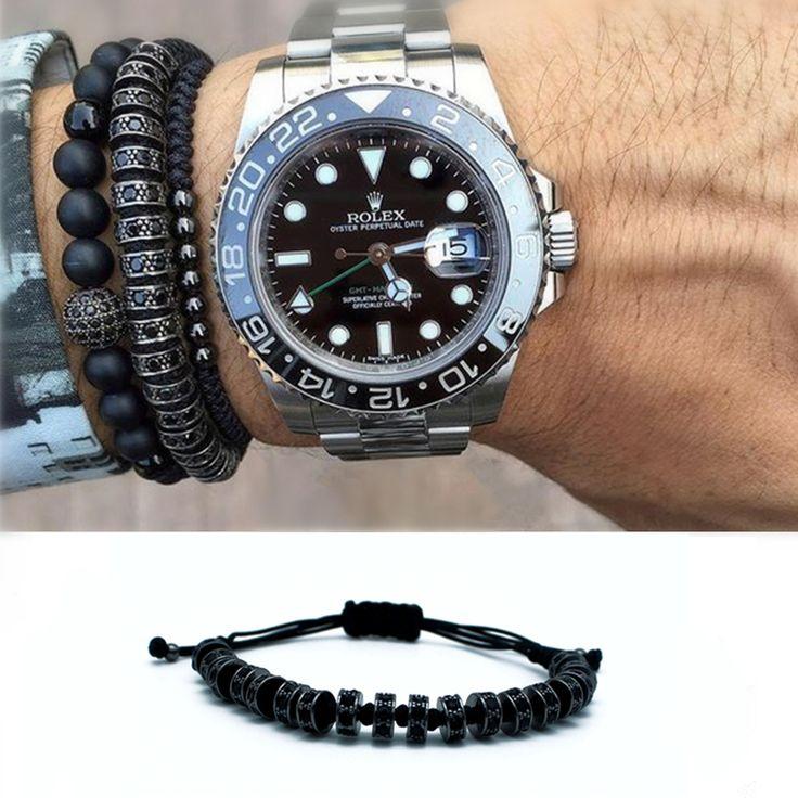 Anil Arjandas Luxury Gold Plated Stoppers Macrame Bracelet Handmade Black Zircon Bracelets Mens &Womens New Style Accessories #Affiliate