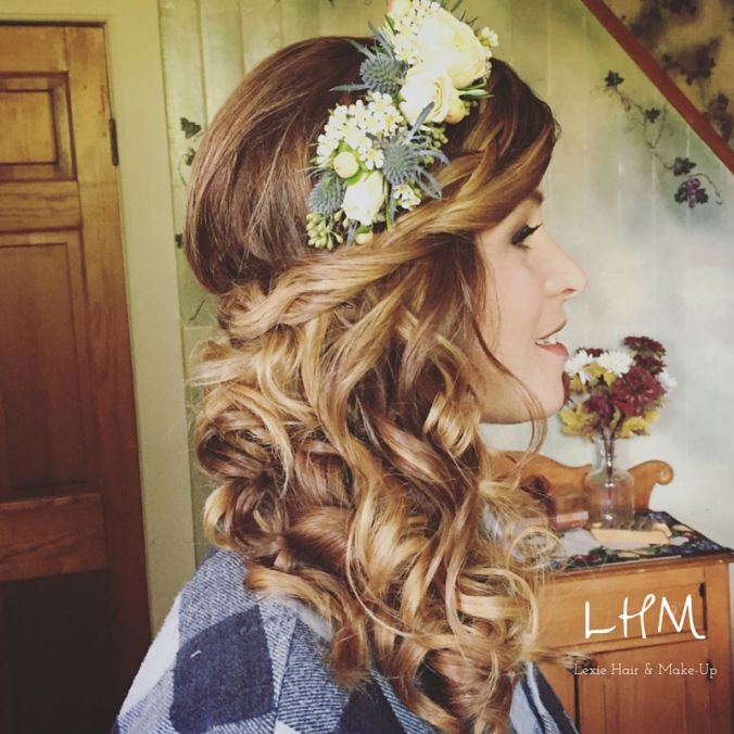 Bohemian Bridal Updo: High Falls NY | Side swept curls