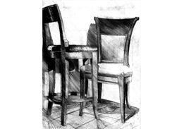 Old chairs pencil drawing. Rysunek starych krzeseł ołówkiem. www.kurs-rysunku.com.pl
