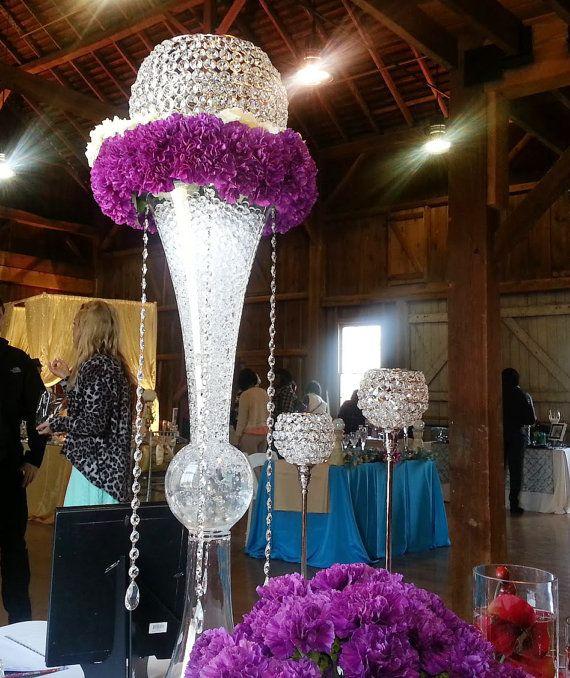 Clear reversible trumpet glass vase wedding centerpiece