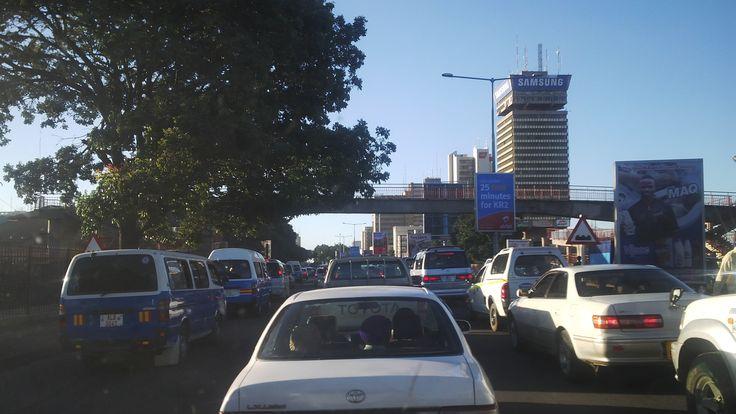 Entering Lusaka's Cairo's road.