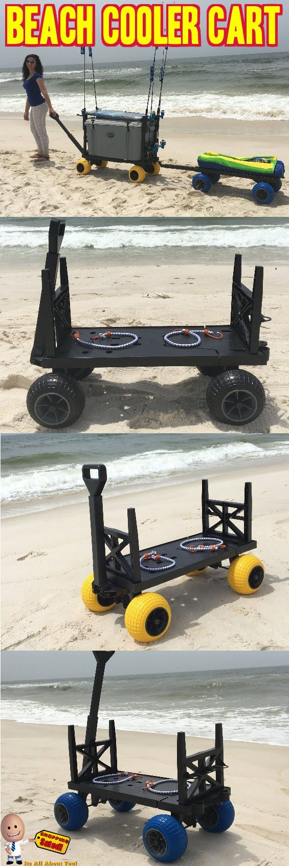 This Beach Cooler Cart is perfect for hauling your Yeti, Rtic, Igloo ice chest cooler. This beach wagon can haul loads up to 300 lbs on solid ground and up to 60 lbs in deep soft sand. This hand pull wagon will never rust due to contact with salt or fresh water. It's the perfect flatbed cart for transporting your large medium or small coolers and beach gear to and from your vehicle. Click Here Now for more information: http://www.shoppingsated.com/store/p51/Plus_One_Beach_Cart.html