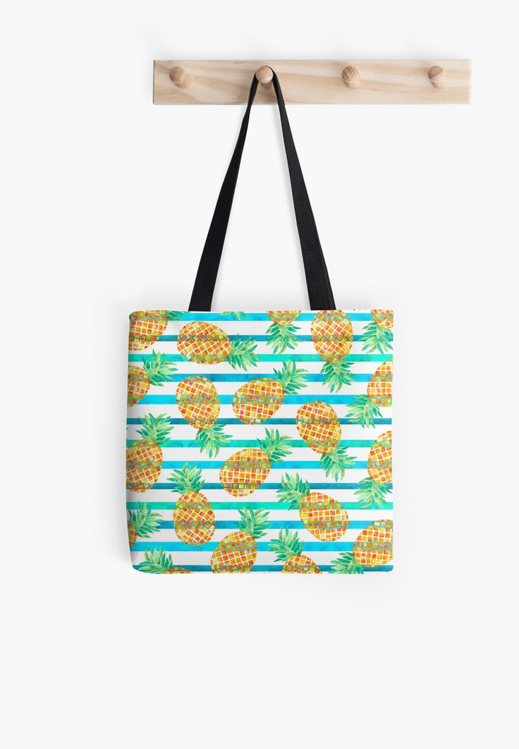 Watercolor Pineapples and stripes. Watercolor and digital. • Also buy this artwork on bags, apparel, stickers, and more.Pineapple watercolor pattern. Inspired by summer and nature. @redbubble #pineapple #fruit #orange #floral #botanical #fashion #watercolor #redbubble #bag #totebag