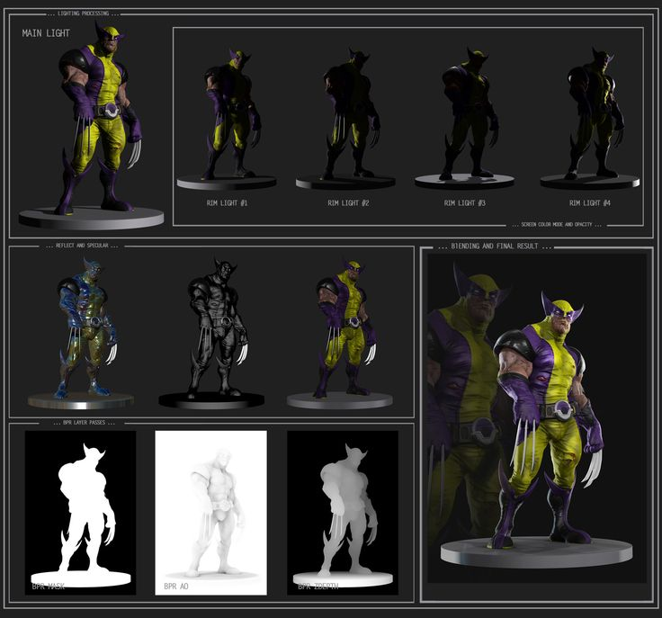 Some really nice pass renders of wolverine by farhadnojumi on zbrushcentral. Nice to see all the passes he uses in his rendering.