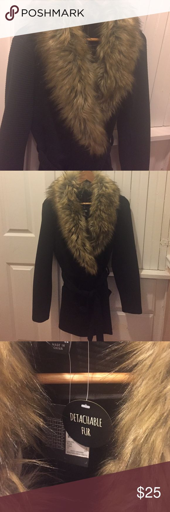 Brand new fur collar cardi/jacket From Europe size8 USA like a medium fit cardigan/jacket has a nice stretch to it soft removable fur collar black atmosphere primark Jackets & Coats