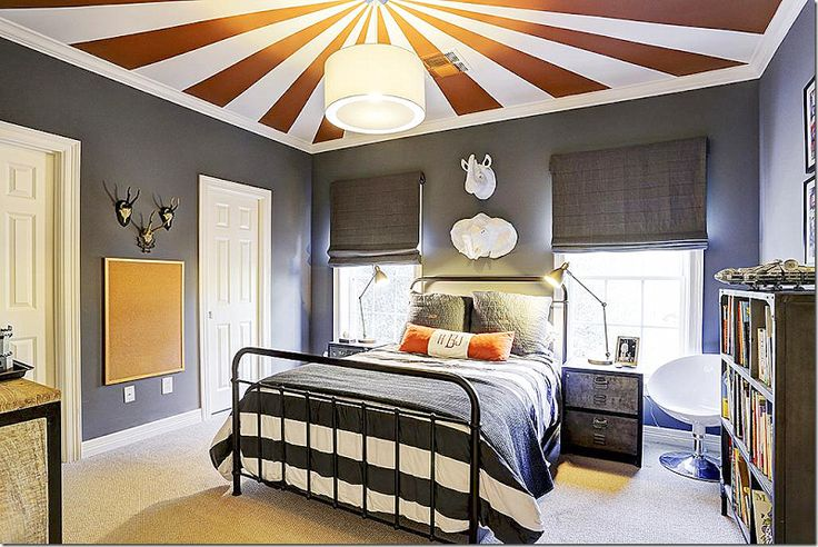 141 best boys bedroom images on pinterest boy bedrooms for Cool painted ceilings