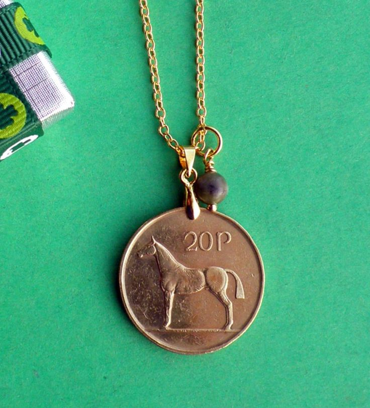 21st Birthday, 1995 21st Anniversary, Hunter Horse Pendant Necklace, Brass coin on 18k Gold Filled Chain, Coins direct from Ireland. by VintageIrishDresser on Etsy