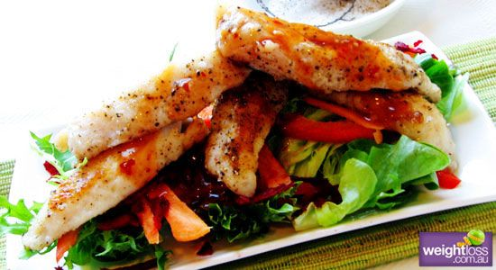 Healthy Dinner Recipes: Salt and Pepper Flathead Tails with Beetroot Salad. #HealthyRecipes #DietRecipes #WeightlossRecipes weightloss.com.au