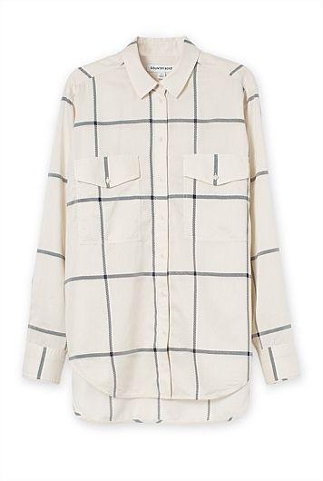 Grid Print Boyfriend Shirt