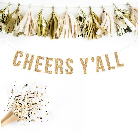 Glitter CHEERS YALL Banner via Little Retreats. Bring the party to the party with this fun glitter number!  …………… GARLAND DETAILS ……………  • Each glitter cardstock letter measures 5 tall.  • Approximate length of the CHEERS YALL text measures approx. four feet long.  • The letters are strung on ten feet of gold shimmer and white bakers twine, allowing you to adjust the spacing of each letter to suite your sizing needs.  • Handcrafted with love and care in the Pacific Northwest  • Glitter…