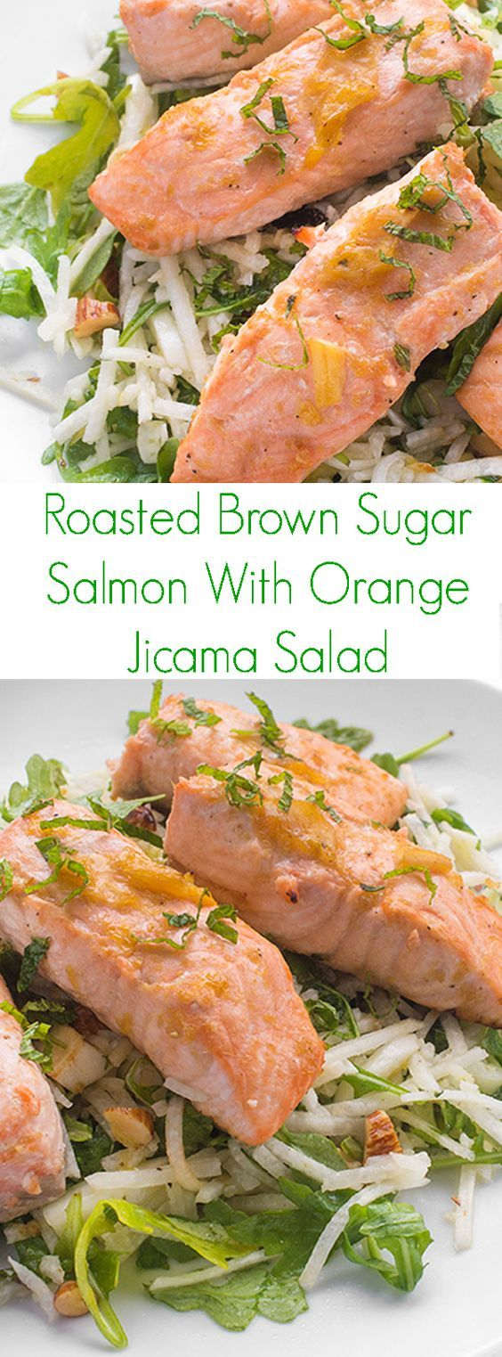 Roasted Brown Sugar Salmon With Orange Jicama Salad - A fast and fresh seafood dinner from Terra's Kitchen healthy meal delivery service, this roasted brown sugar salmon is served over a crunchy jicama mint salad.