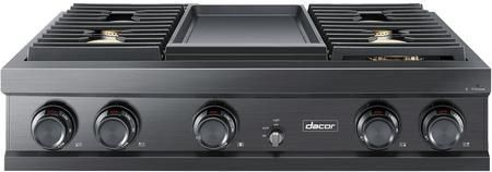 """DTT36M974HM 36"""" Modernist Series High Altitude Natural Gas Rangetop with 4 Sealed Cooktop Burners Griddle Illumina Knobs 22000 BTU Burner and WiFi Connect in Graphite Stainless Steel"""