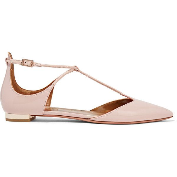 Aquazzura Scarlet patent-leather point-toe flats found on Polyvore featuring shoes, flats, pink, aquazzura flats, flat pumps, patent leather shoes, ankle wrap flats and pink shoes