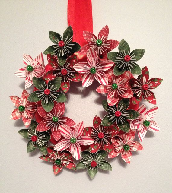"Origami/Kusudama Christmas Paper Flower Wreath 12"""