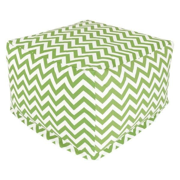 Sage Green And White Chevron Stripe Bean Bag Chair Ottoman Footstool
