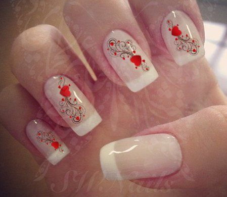 Valentine's Day Nail Art Hearts and Swirsl Nail water decals Transfers Wraps