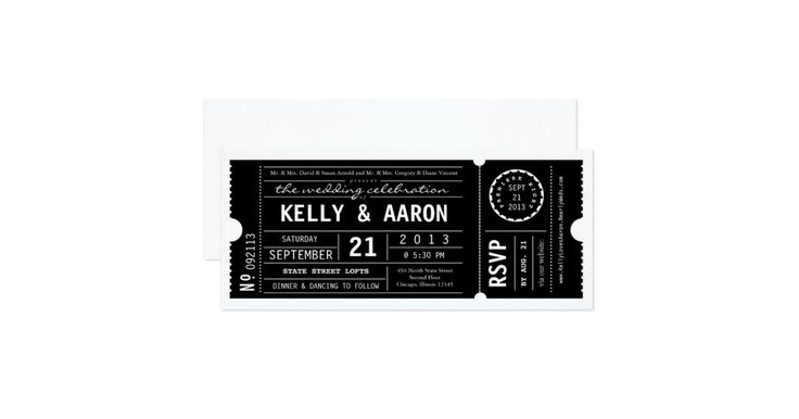Bold fonts decorate this vintage inspired theater ticket. Add in your names, venue information and wedding date to announce your big day in style! To further customize (changing fonts and/or colors) click the orange 'customize it' button, above.