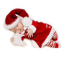 New Newborn Santa Claus Christmas Infant Baby Hat Rompers Costume Clothes Set