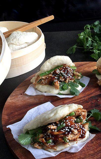 Soft and fluffy steamed Bao Buns with shredded garlic hoisin chicken   Food Well Said