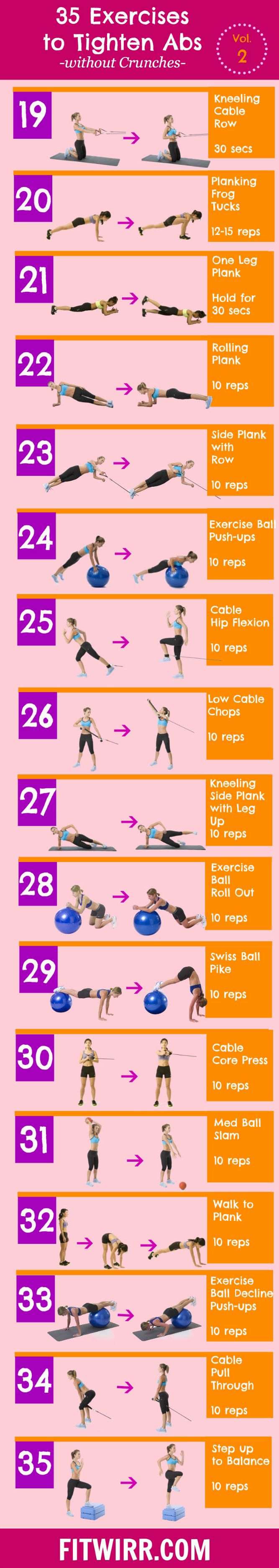 35 Different Core Workouts to a Lean, Toned Stomach without Crunches - fitwirr.com