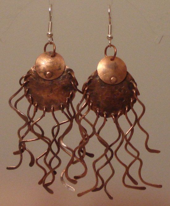 One of a kind spider copper earrings