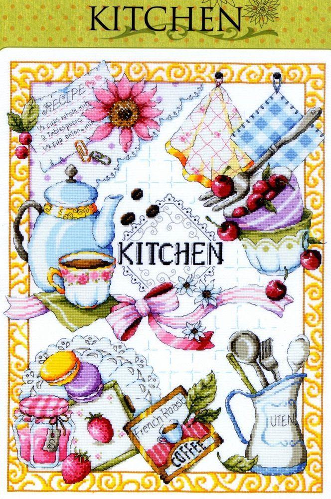 Kitchen - Counted cross stitch Kit - Sodastitch SODA SO-K3 #SODAstitchDMC #PillowCover