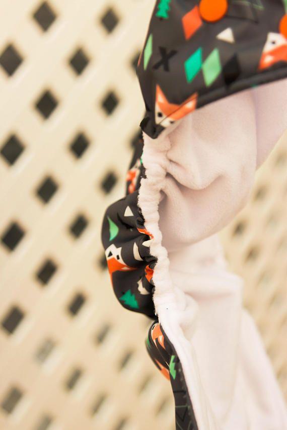 Geometry Fox Pocket Diaper with Orange Snaps