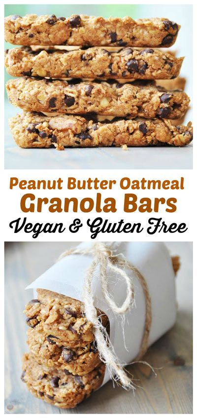 Vegan Peanut Butter Oatmeal Chocolate Chip Granola Bars are three of your favorite cookies packed into one protein bar that tastes as good as it looks. #vegan #glutenfree #granolabar