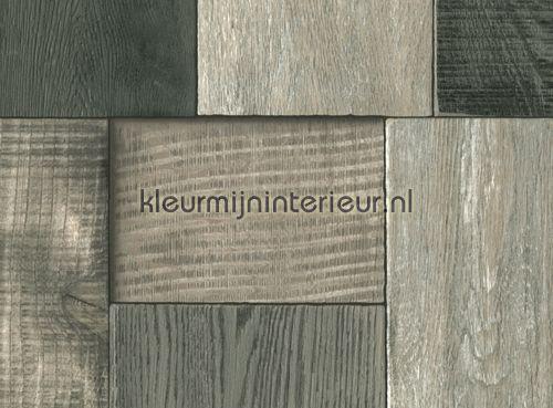 Geblokt hout grijs hout behang