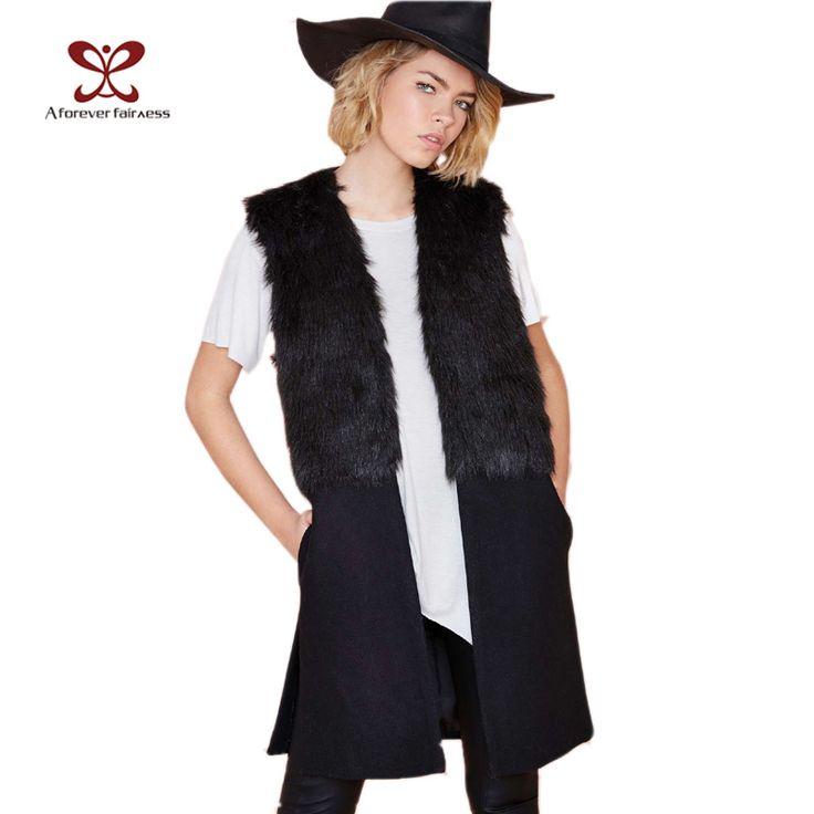 Women Winter Vest Jackets Faux Fur Woolen Stitching Black Fashion Casual Slim Long Wool Vest Jacket Coat Female New NC-442