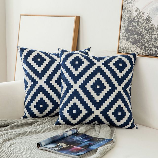 Embroidered Navy Blue Cotton Cushion Cover In 2020 White Cushion Covers Blue Cushions Decorative Pillow Cases