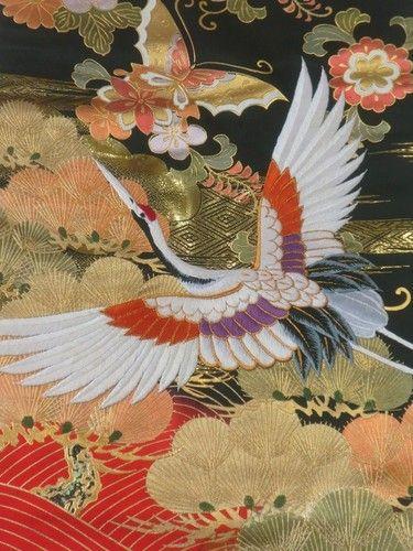 Japanese Kimono UCHIKAKE FABRIC Butterfly Crane Embroidery s4 | eBay