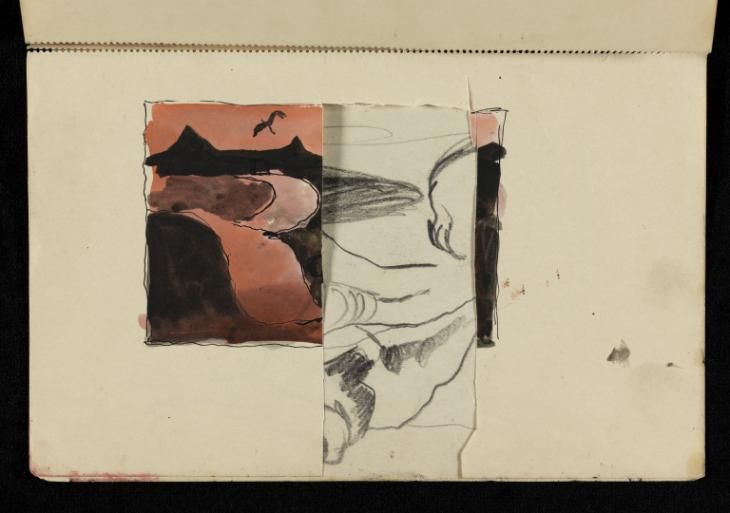 Graham Sutherland OM 'Pink and black study of a winding road, with a bird in flight above', [1940–4] © The estate of Graham Sutherland