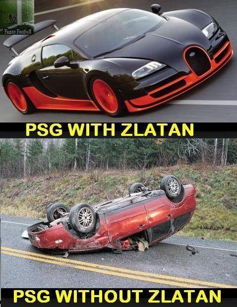 Tak wygląda PSG ze Zlatanem w składzie • A tak wygląda Paris Saint-Germain FC bez Zlatana Ibrahimovicia w składzie • Zobacz mem >>